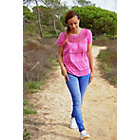 more details on Cherokee Women's Pink Lace Insert Top - Size 14.