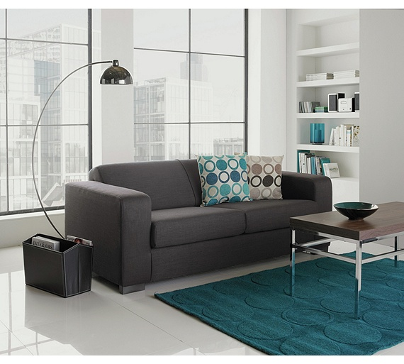 Buy Hygena New Ava 3 Seater Fabric Sofa Charcoal At