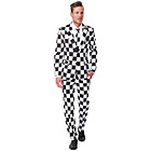 more details on Checked Black and White Suit - Size Medium.