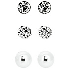 more details on Link Up Sterling Silver Glitter Ball Pearl Stud Earrings - 3