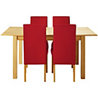 more details on Heart of House Clevedon Ext Table & 4 Red Skirted Chairs.