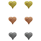 more details on Link Up Sterling Silver Texture Heart Earrings - Set of 3.