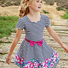 more details on Cherokee Girls Stripe Dress with Flower Border - 7-8 Years.