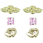more details on Link Up Gold Plated Silver Stud Earrings - Set of 3.