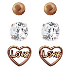 more details on Link Up Rose Gold Plated Silver Love Stud Earrings - 3.