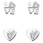 more details on Link Up Sterling Silver Love and Broken Heart Earrings - 2.
