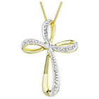 more details on 9ct Gold Diamond Set Bow Cross Pendant Necklace.