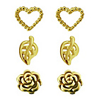 more details on Gold Plated Silver Heart, Leaf, Rose Earrings - Set of 3.