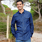 more details on Cherokee Mens Dark Denim Shirt - Size Large.