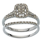 more details on 9ct White Gold 0.25ct tw Square Diamond Halo Bridal Set.