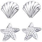 more details on Link Up S.Silver Shell and Starfish Stud Earrings - Set of 2