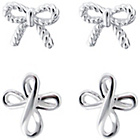 more details on Link Up Sterling Silver Bow and Cross Stud Earrings - 2.