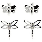 more details on Sterling Silver Bee and Dragonfly Stud Earrings - Set of 2.