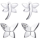 more details on Link Up Sterling Silver Butterfly Stud Earrings - Set of 2.