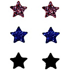 more details on Link Up Sterling Silver Glitter Star Stud Earrings - 3.