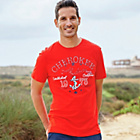 more details on Cherokee Mens Red Nautical T-Shirt - Size Medium.
