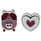 more details on Sterling Silver Kids Pink Piggy and Heart Charms - Set of 2.