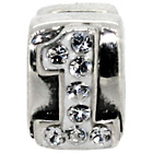 more details on Sterling Silver Kids Stone Set Number Charm - 1.