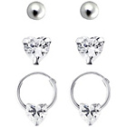 more details on Sterling Silver Crystal Heart Earrings - Set of 3.
