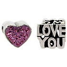 more details on Sterling Silver Kids Pink Stone Heart and Love You Charms.
