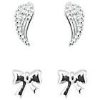 more details on Sterling Silver Angel Wing and Bow Earrings - Set of 2.