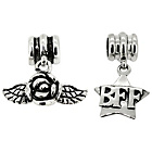 more details on Sterling Silver Kids BFF and Rose Drop Charms - Set of 2.