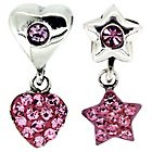 more details on Sterling Silver Kids Pink Stone Star and Heart Drop Charms.