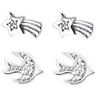 more details on Sterling Silver Bird and Star Earrings - Set of 2.