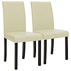 more details on HOME Pair of Cream Mid Back Dining Chairs.