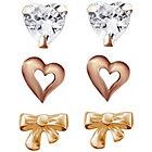 more details on Rose Gold Plated Silver Crystal Stud Earrings - Set of 3.