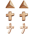 more details on Rose Gold Plated Silver Cross Stud Earrings - Set of 3.