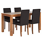 more details on Newton Walnut Stain Dining Table & 4 Black Chairs.