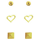 more details on Gold Plated Silver Round, Heart, Square Earrings - Set of 3.