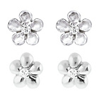 more details on Link Up Sterling Silver Flower Stud Earrings - Set of 2.