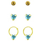 more details on Gold Plated Silver Crystal Heart Earrings - Set of 3.