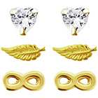 more details on Gold Plated Silver Hearts Feather Infinity Earrings-Set of 3
