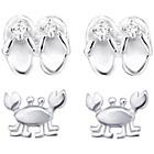 more details on Link Up Sterling Silver Flip Flop and Crab Earrings - 2.