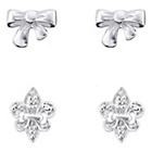 more details on Sterling Silver Bow and Fluer De Lis Earrings - Set of 2.
