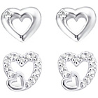 more details on Link Up Sterling Silver Cut Out Heart Earrings - Set of 2.