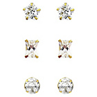 more details on Gold Plated Silver Star Stud Earrings - Set of 3.
