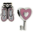 more details on Miss Glitter S.Silver Kids Enamel Shoe and Heart Key Charms.