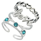 more details on Sterling Silver Blue Cubic Zirconia Toe Rings - Set of 3.
