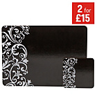 more details on HOME Damask Set of 4 Placemats and Coasters - Black.