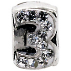 more details on Miss Glitter Sterling Silver Kids Stone Set Number Charm - 3