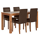 more details on Newton Walnut Stain Dining Table & 4 Chocolate Chairs.