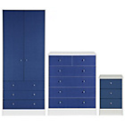 more details on New Malibu 3 Piece 2 Door Wardrobe Set - Blue on White.