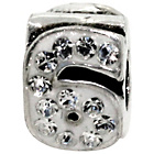more details on Miss Glitter Sterling Silver Kids Stone Set Number Charm - 6