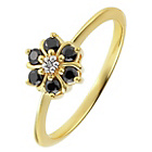 more details on 14ct Gold Plated Sterling Silver Black/White CZ Flower Ring.