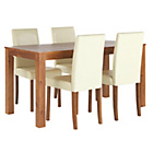 more details on Newton Walnut Stain Dining Table & 4 Cream Chairs.