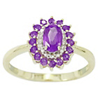 more details on 9ct Gold Amethyst and Diamond Ring - J.